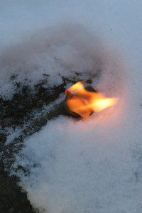 SurvivalCommonSense firestarter burning on snow