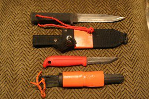 The Cold Steel SRK (top) and the J. Martinni Mora-style knives are good choices for all around use.