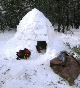 This under-construction igloo was built using several survival tools, including a machete.