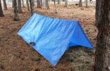 This simple A Frame tarp shelter is a quick emergency shelter, and can provide ample protection.