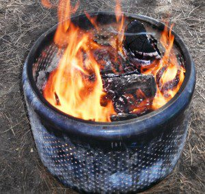 A steel dryer basket makes a safe, cheap fire containment unit. (Pantenburg photo)